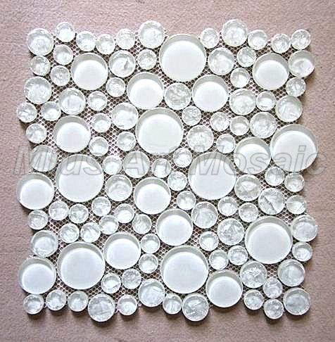 Mius Art Mosaic Glossy Solid White Round Glass Mosaic Tile For Kitchen Backsplash Mc01 White Tile Backsplash Bathroom Metallic Backsplash Diy Tile Backsplash