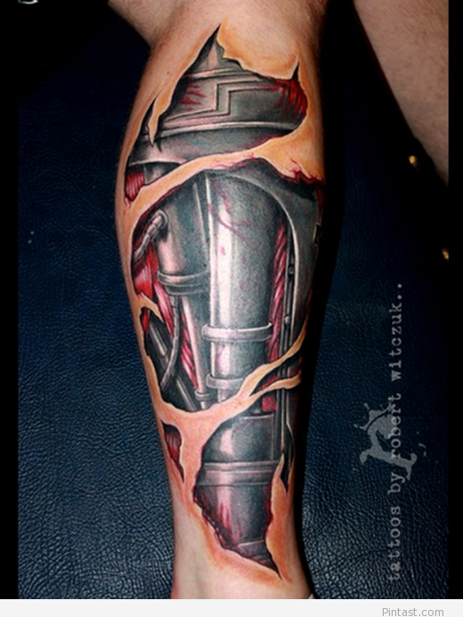 Steel 3d tattoo design for boys Leg tattoo men, Mechanic
