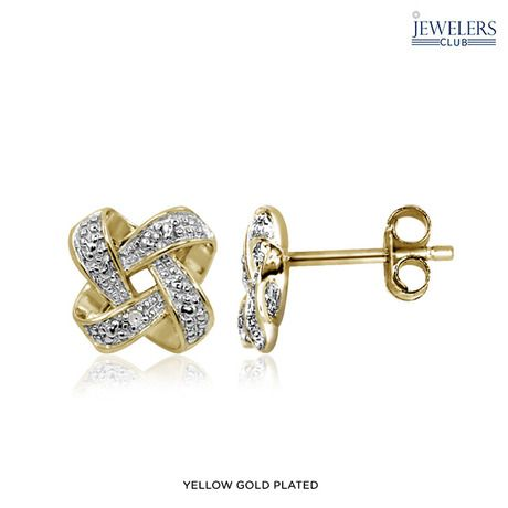Genuine White Diamond Accent Earrings - Sterling Silver or Yellow Gold-Plated at 90% Savings off Retail!