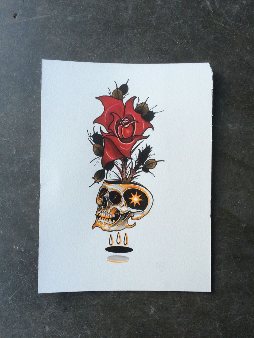 Tattoo Flash Artist Umbrellaface Neo Traditional Skull And Rose