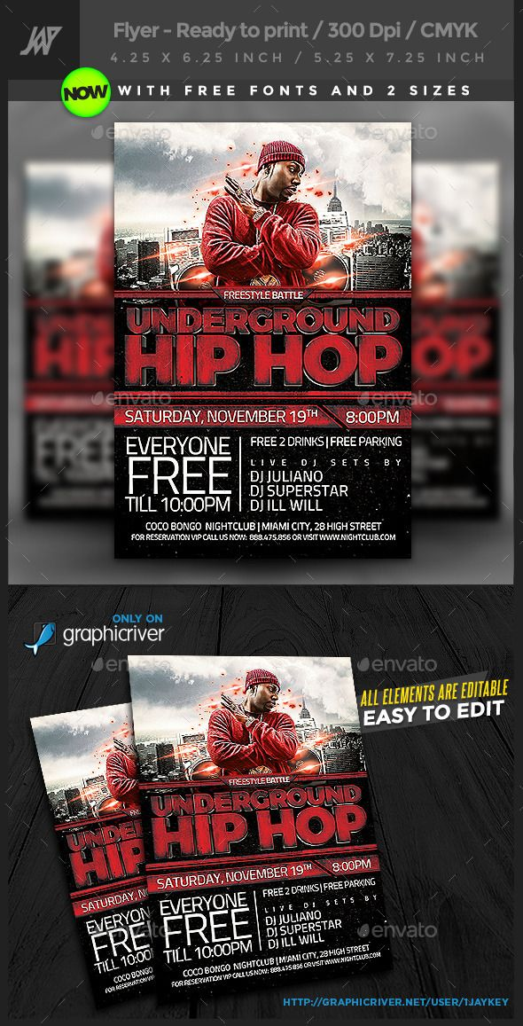 Underground Hip Hop Flyer  Flyer Template Template And Event Flyers