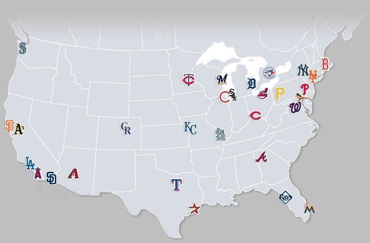 Map Of Major League Baseball Teams Maps Pinterest Major - Map Of Us Baseball Teams