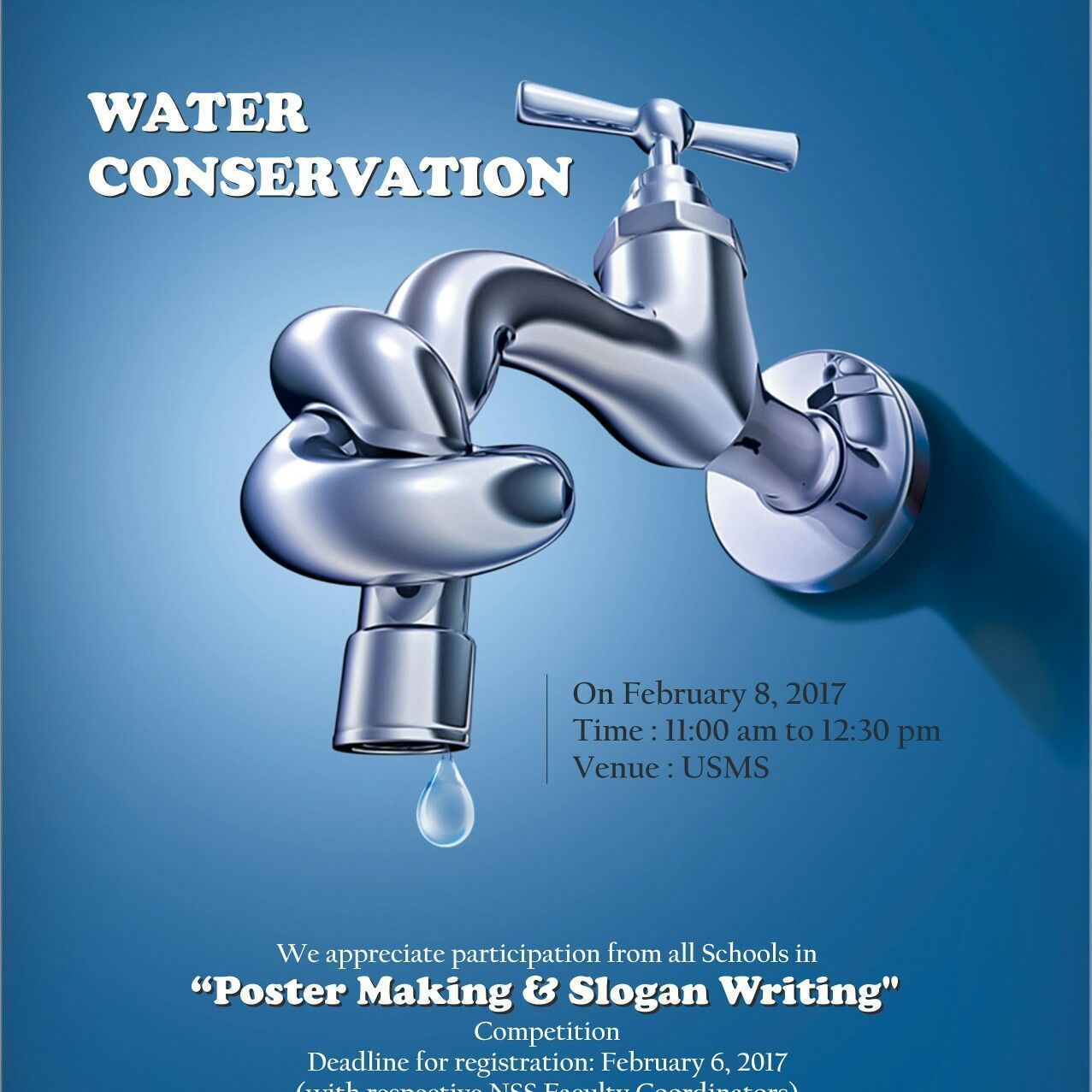 Poster design on save water - University School Of Management Studies Is Organizing Poster Making Slogan Writing Competition On