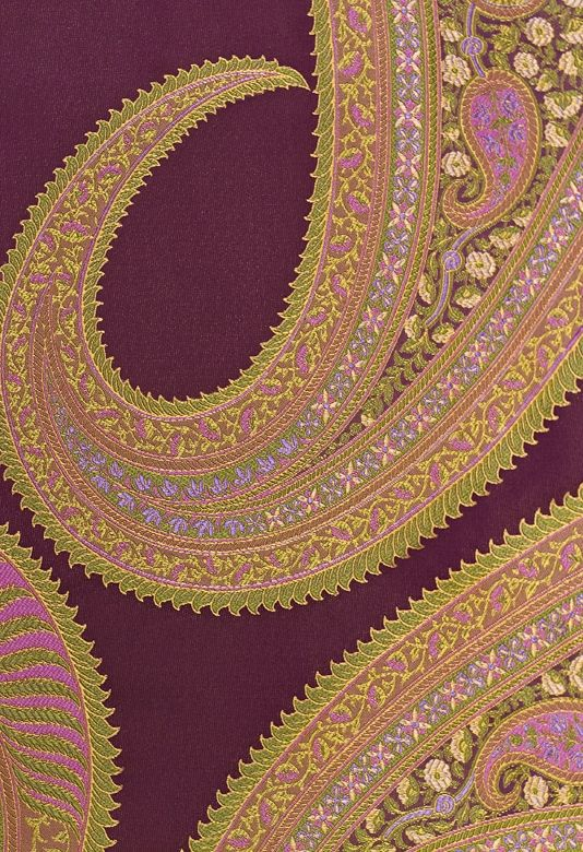 Quechua Silk Paisley Fabric Purple, Green, Fuchsia, Cream & Lavendar by Nina Campbell Talara.