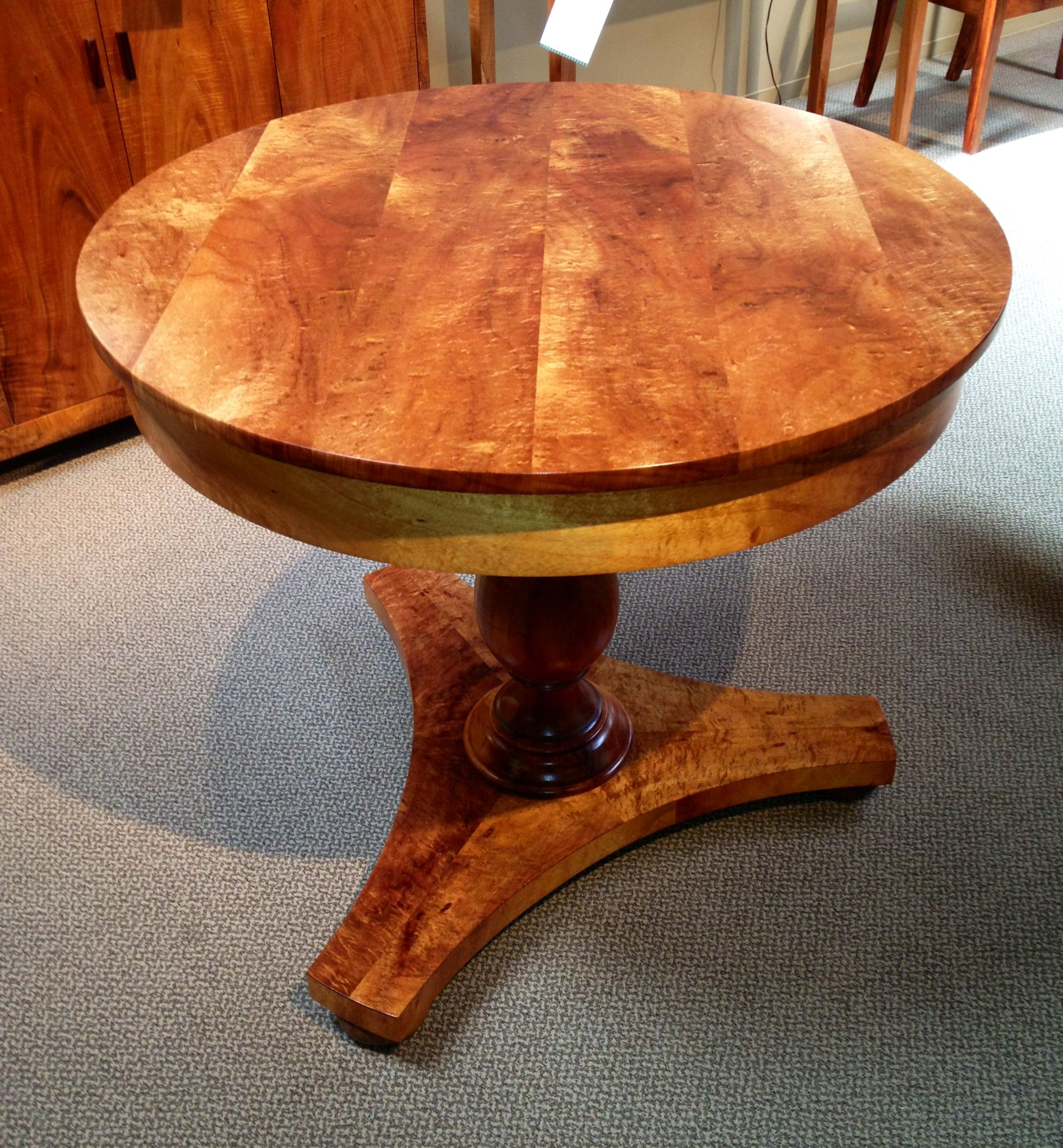 Curly Koa Entry Table With Lathe Turned Pedestal, Made By The Fine Furniture  Craftsmen