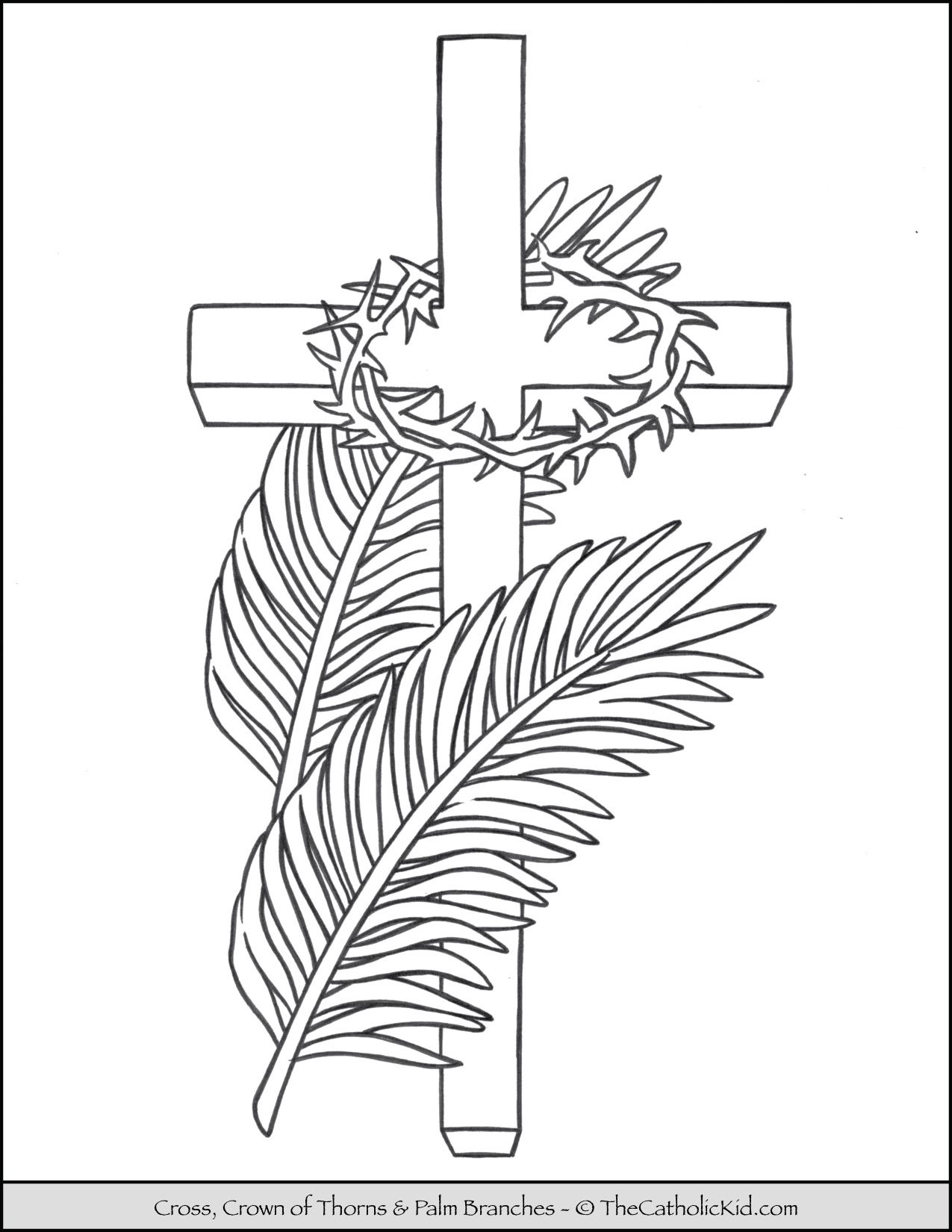 Lent Coloring Page Cross Palms Crown Of Thorns Thecatholickid Com Catholic Coloring Cross Coloring Page Jesus Coloring Pages