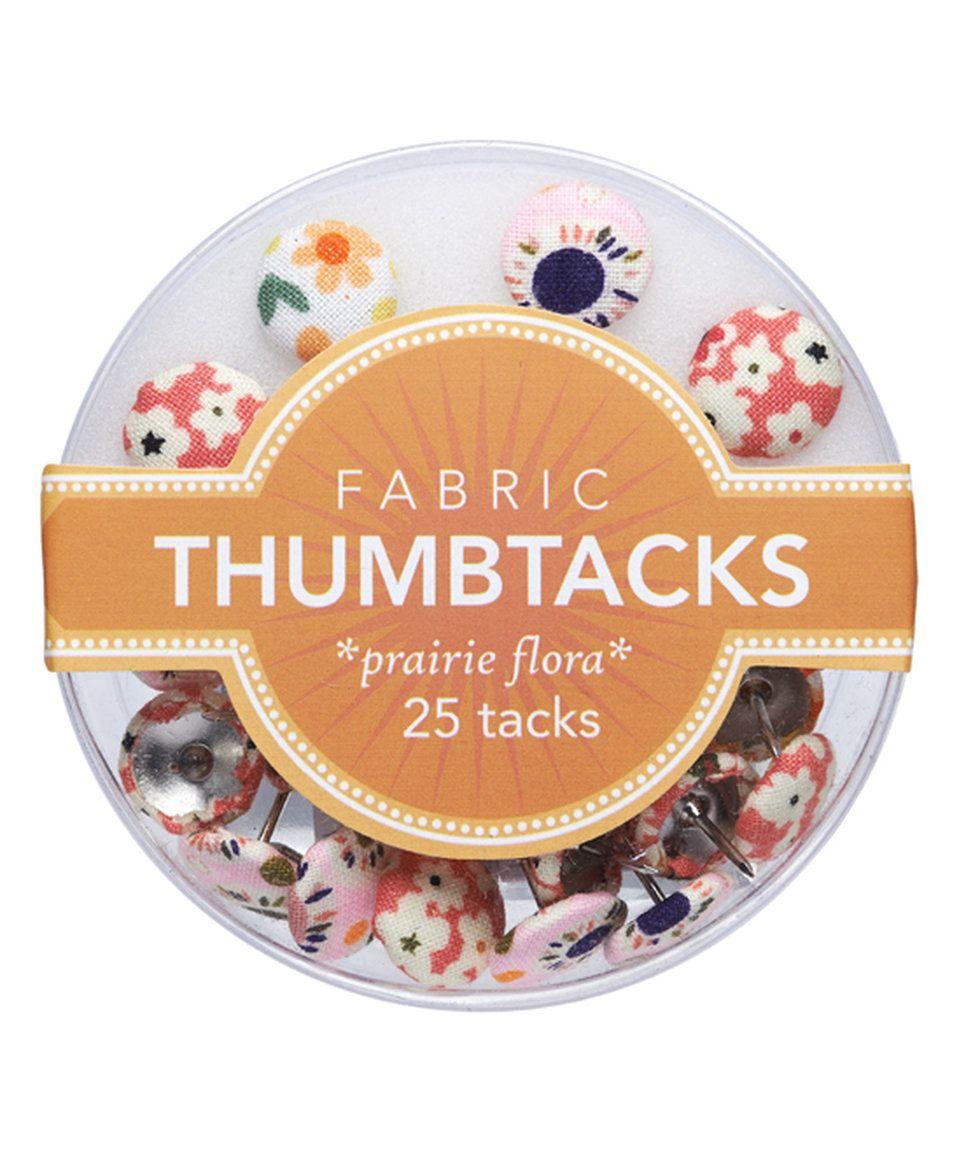 Take a look at this Prairie Flora Fabric Thumbtacks Set