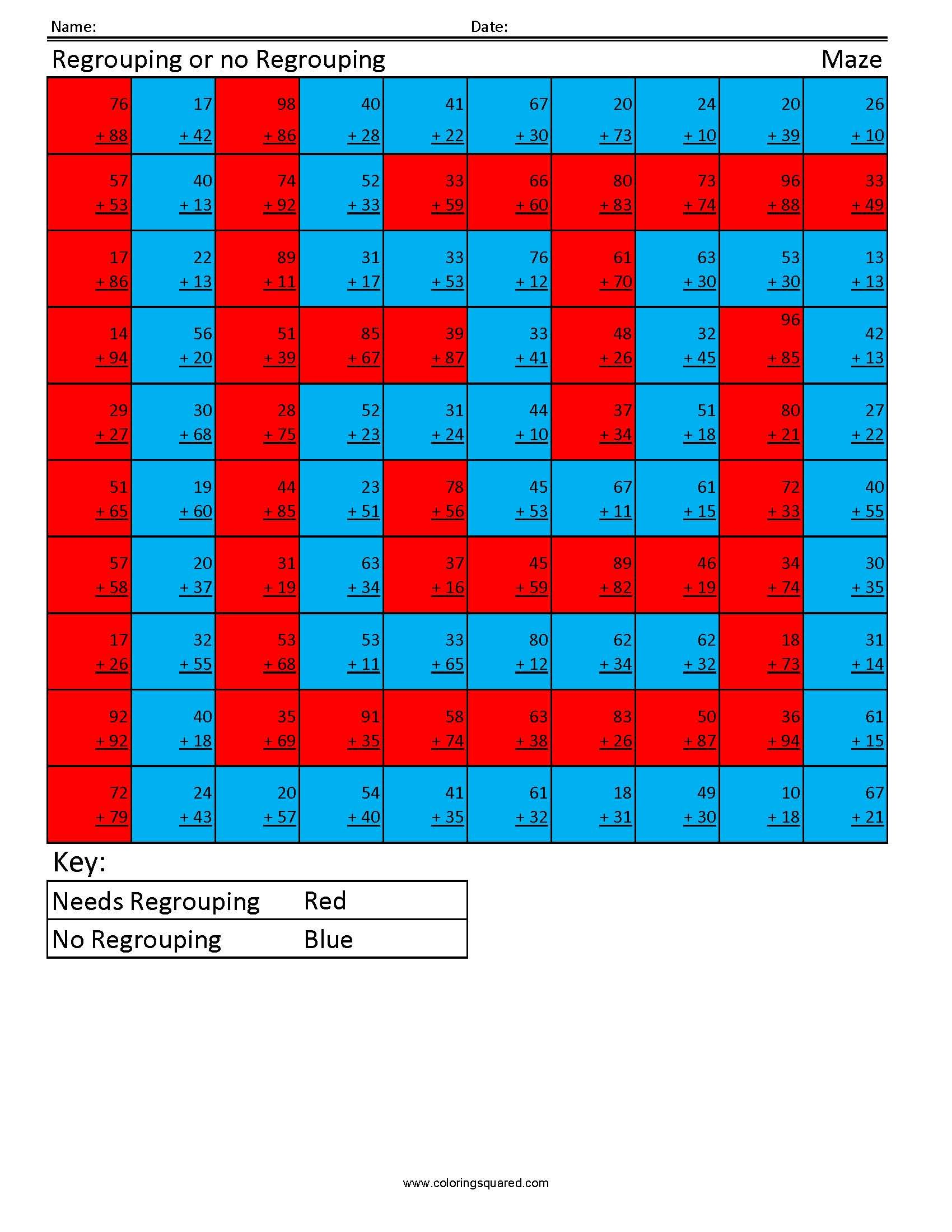 Addition Regrouping- Maze - Coloring Squared   anika   Pinterest ...