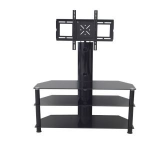 CB60 Black glass cantilever style TV stand suitable for up to 55 inch screens, cable management and swivel action.