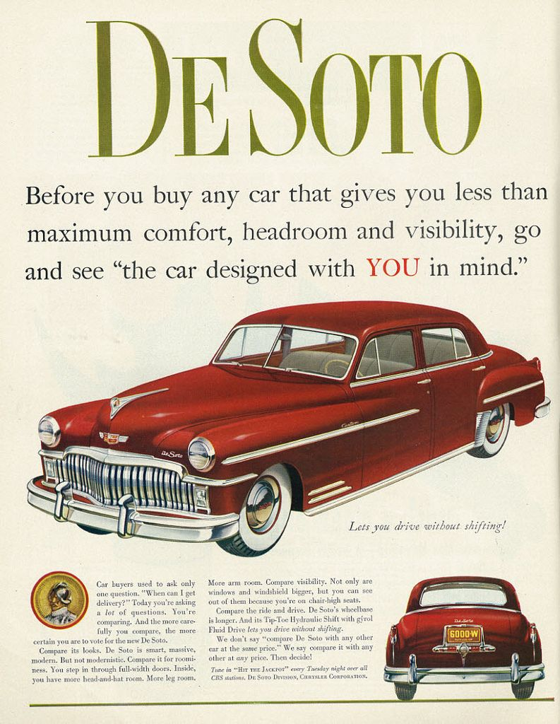 1949 car ad de soto 1940s and cars rh pinterest com 1938 Chevy Sedan 1938 La Salle Sedan