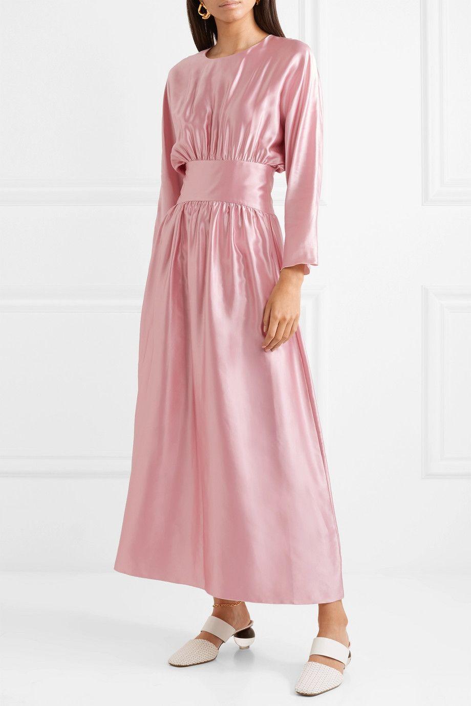 Hermine Silk-satin Midi Dress - Pastel pink Deitas Shop Offer Sale Online Dwj2RndT