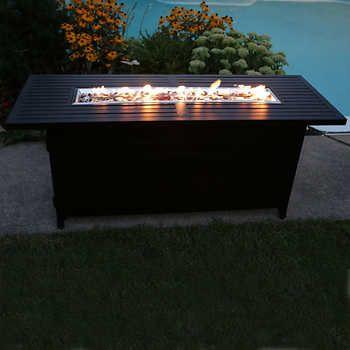 Sunbeam Premium Collection Aluminum Linear Fire Pit Barrel Fire Pit Wine Barrel Fire Pit