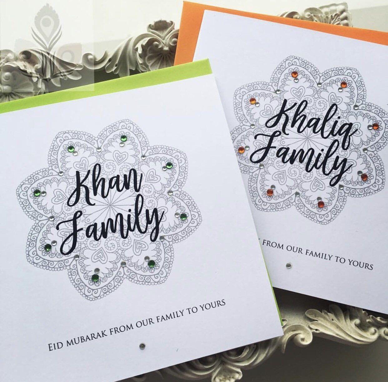 personalised eid mubarak card with mandala print diamante