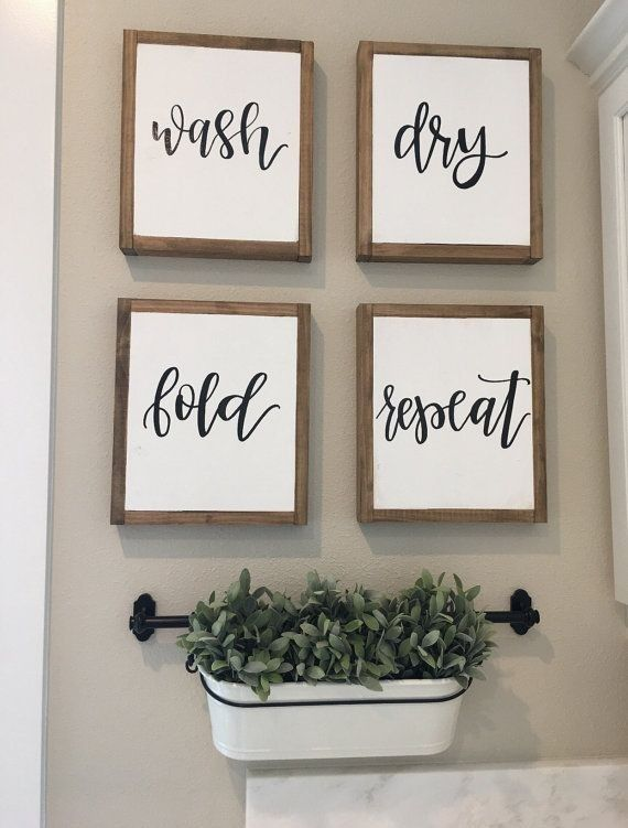 Add The Perfect Farmhouse Touch To Your Laundry Room Or Mudroom With This Set Of Four Signs Size Approximately 12 Tall By 10 Wide Details Reclaimed Wood