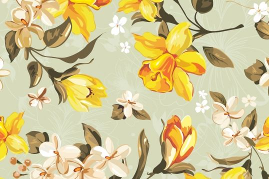 Vintage Illustrated Daffodils Wall Mural Large Floral Wallpaper