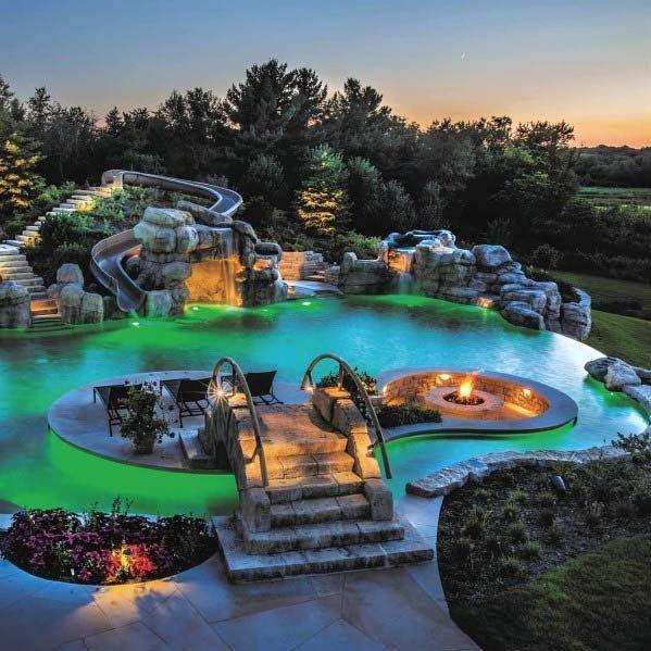 Top 60 Best Pool Waterfall Ideas