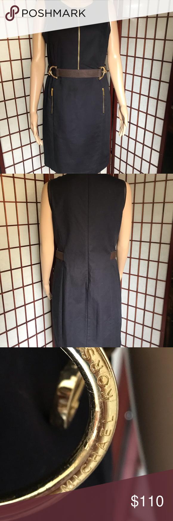 EUC Michael Kors Dress with Italian Leather Trim This ...
