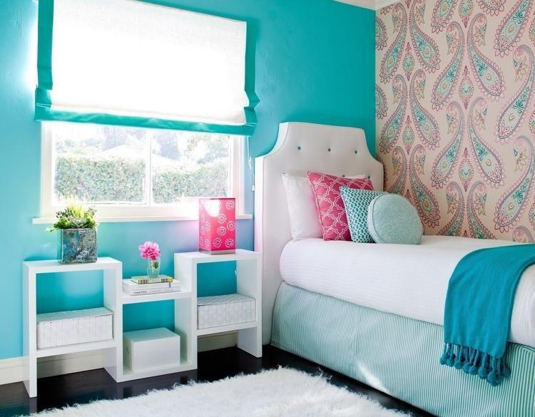 türkis Wandfarbe im Kindezrimmer und weiße Möbel Wohnen - wandgestaltung wohnzimmer braun turkis