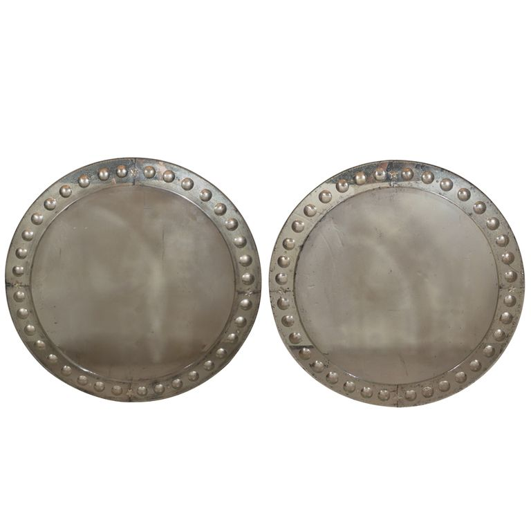 Pair of Venetian Round Distressed Silver Mirrors