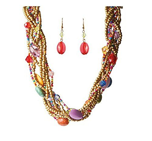 MultiColored Braided Twisted Bead Goldtone Necklace and Earrings 183 Ext -- You can get more details by clicking on the image.