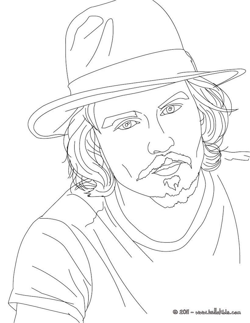 coloring pages johnny depp coloring page - Celebrity Coloring Pages Print