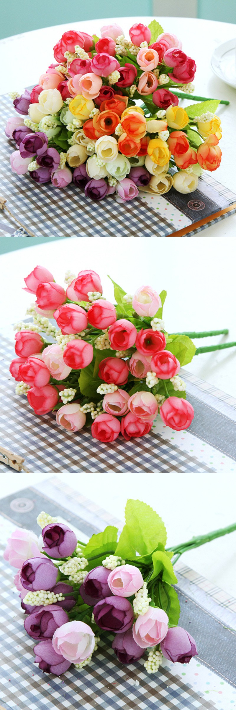 Tea Rose Bud Spring Roses Silk Artificial Flowers 5 Branches for Home Decor Wedding Love Decorative Flowers Floral Ornaments $1.89