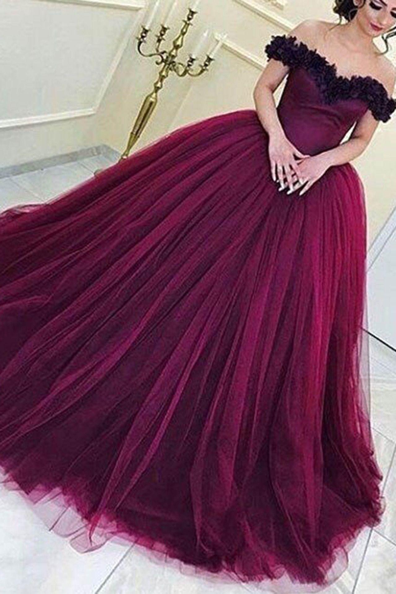c7b0f683b32 Elegant plum tulle off the shoulder prom dress