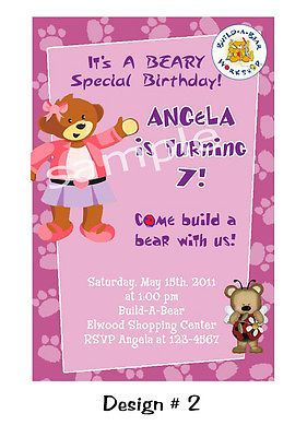 Custom Digital Build A Bear Birthday Party Invitations U Print