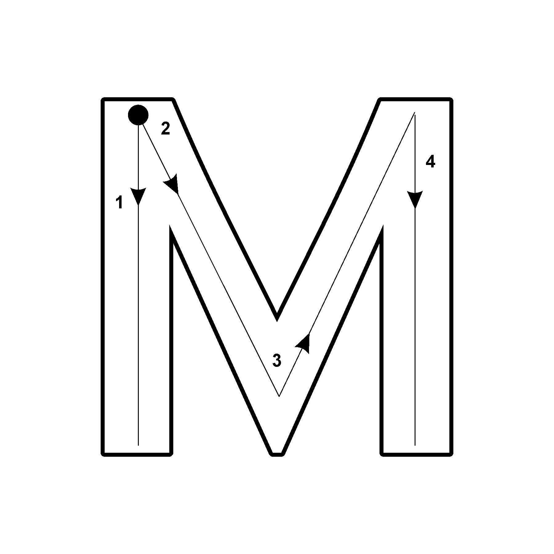 Capital Letter M with Arrow Lettering, Lettering design