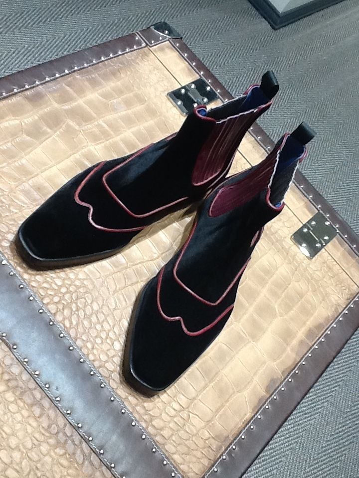 Burgundy Velvet Chelsea Boots Angelogalasso Couture Luxury