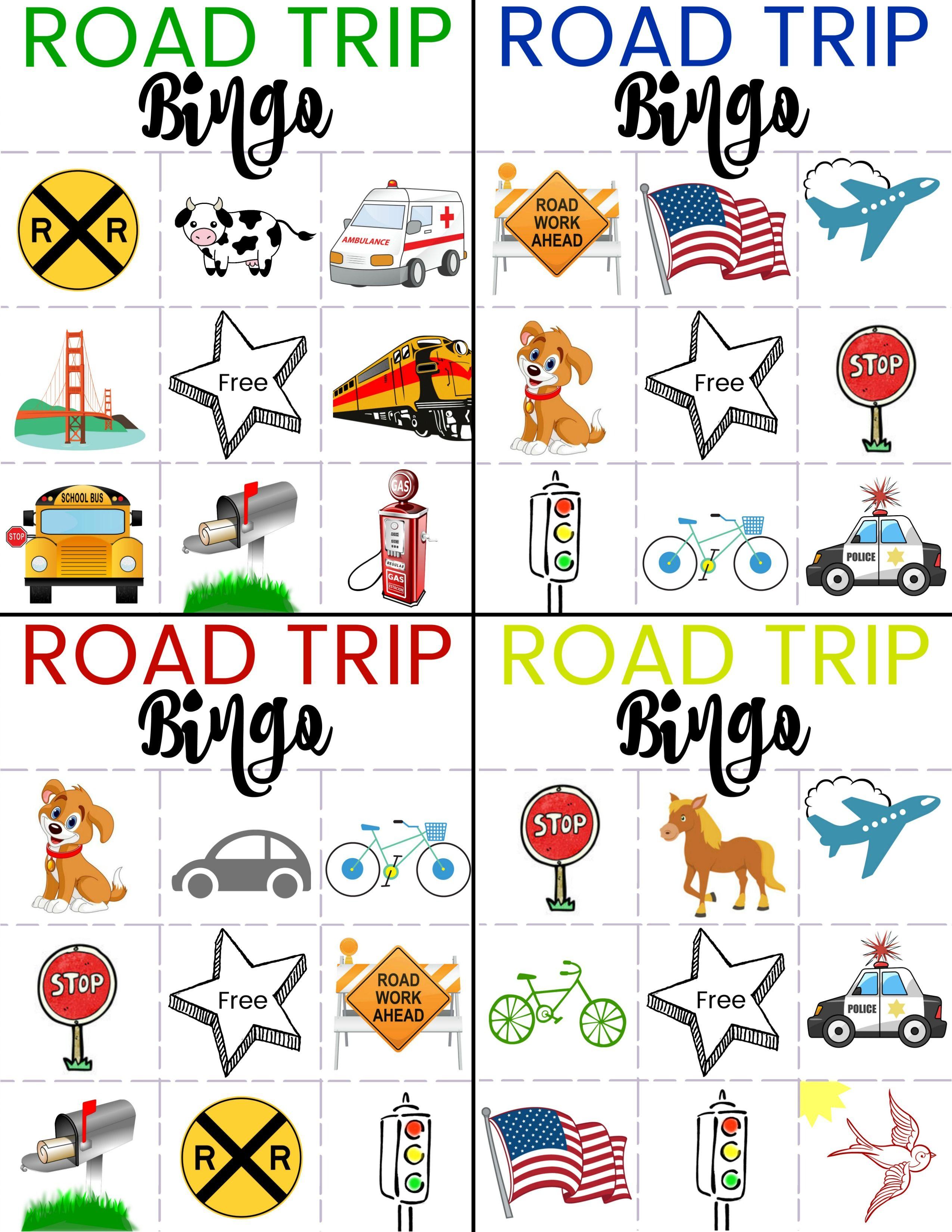 Road Trip Bingo Game for Kids Environmental print