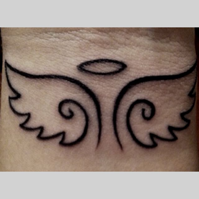 tattoo. … | Wrist tattoos, Tattoos, Small angel tattoo