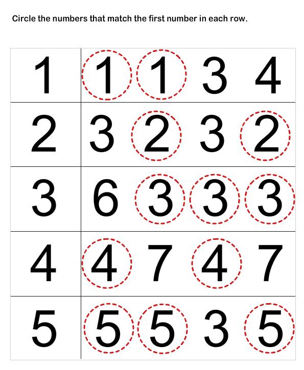 Number Matching Worksheets Preschool Math, Numbers Preschool, Learning  Numbers