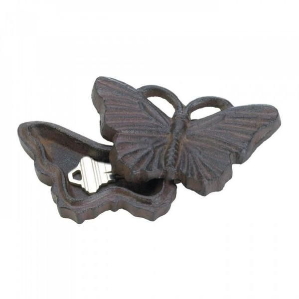This pretty little butterfly will help you unlock your door! This cast-iron decoration slides open to revel the perfect hiding place for a spare key for your do