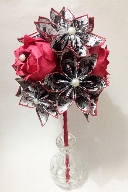 Comic Books u Roses Dozen Paper Flower Bouquet Perfect for her