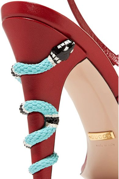 4f9f88d492ea These SS17 Gucci embellished leather sandals in volcanic red featuring a  snake entwined around the stiletto heel are everything - please click to  see more ...