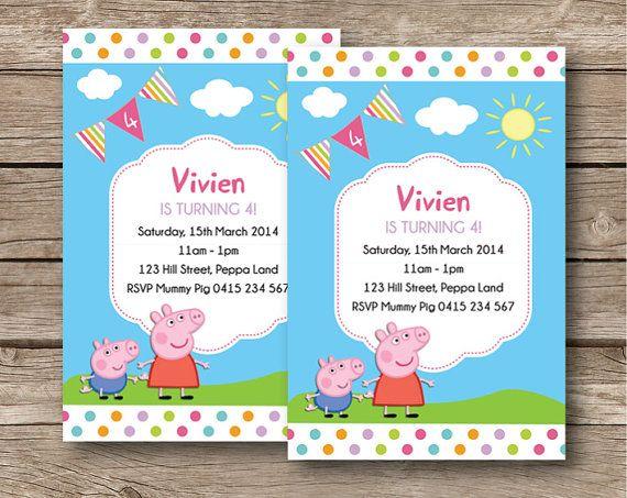 Peppa Pig Birthday Party Personalised Invitation Card Custom Invite