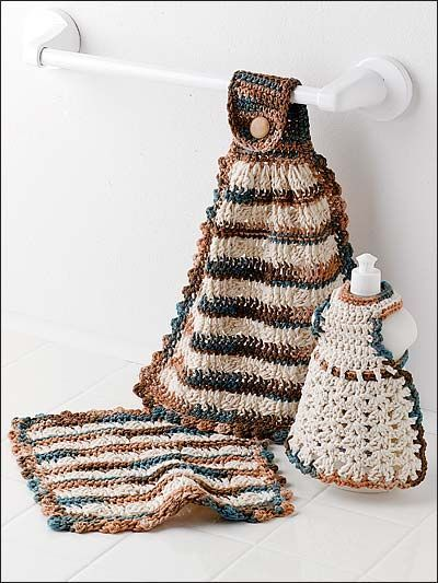 I Need To Make Kitchen Towels And This Is Quite A Cute Set Enchanting Crochet Kitchen Towel Pattern