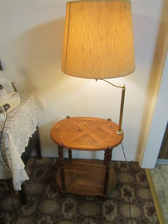 Vintage Solid Oak End Table Lamp Combo Oak End Tables Table