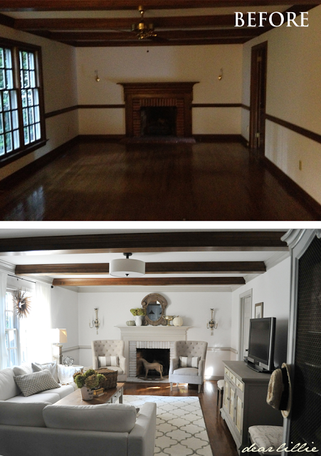 Dear Lillie neutral living room transformation, beams, natural light,  sectional and modified wingback