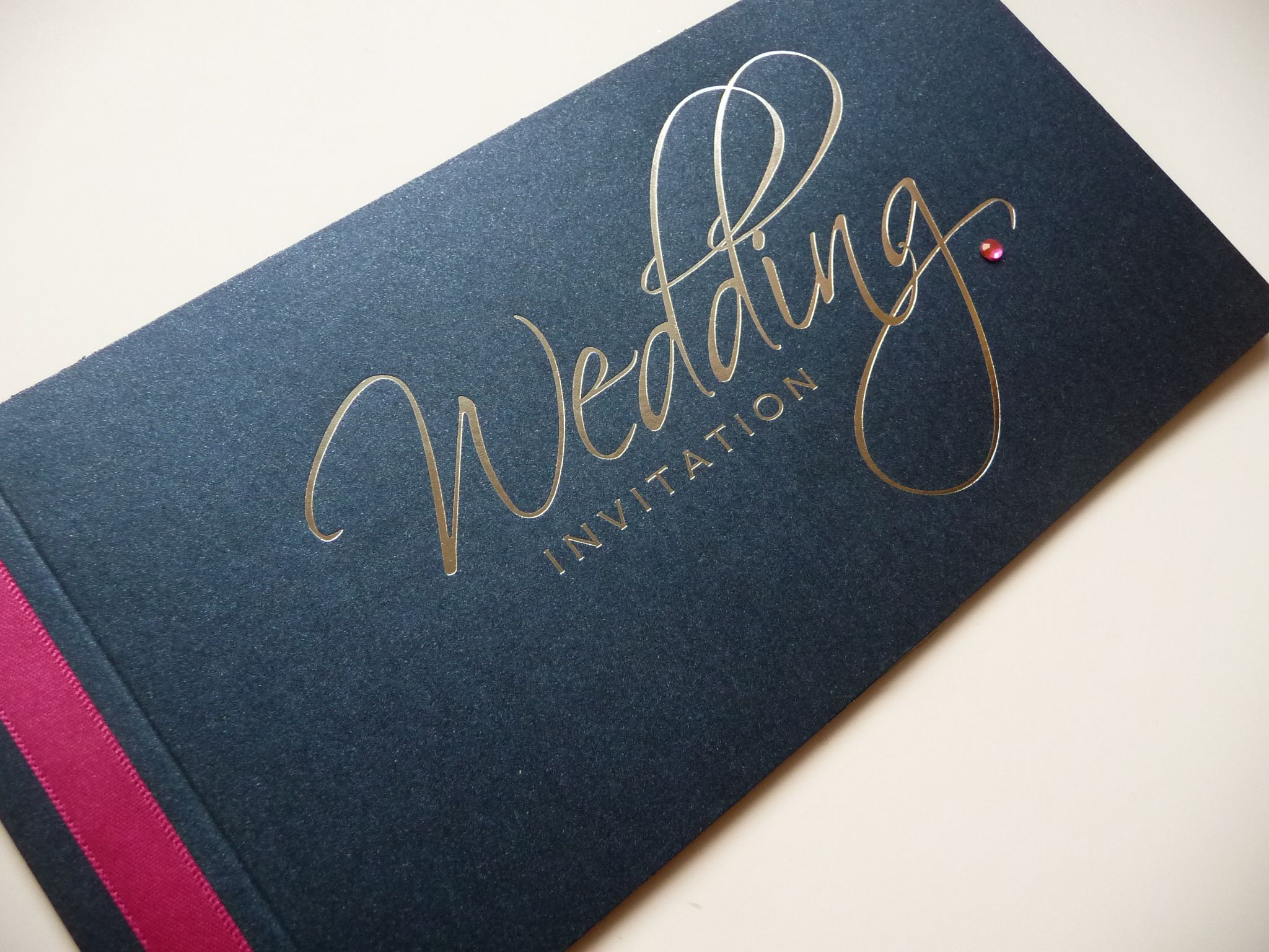 cursive fonts for wedding cards%0A Navy  u     Silver pearlised script cheque book style wedding invitations with  fuchsia pink ribbon and diamante