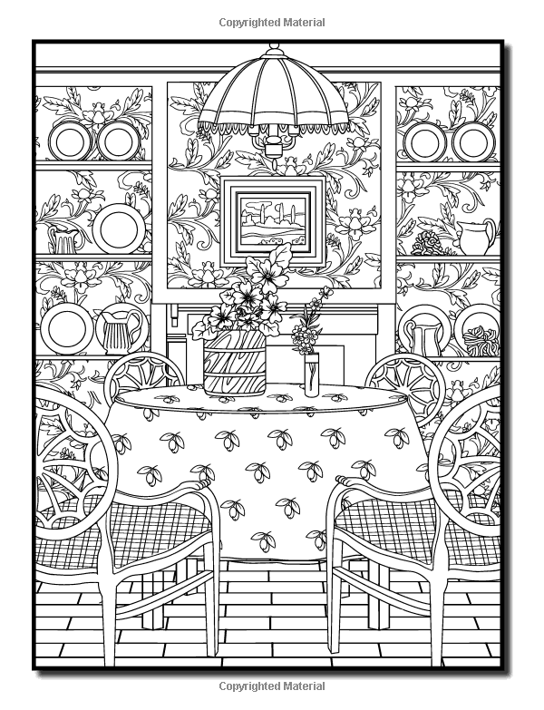 Interior Designs An Adult Coloring Book With Beautifully Decorated Houses Inspirational Room