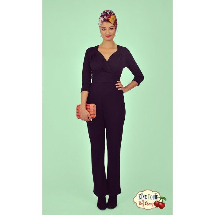 51487e202e5163 King Louie by Very Cherry - Delilah Jumpsuit Black Milano Crepe - New
