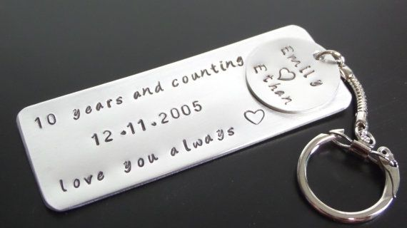 10 Year Anniversary Aluminum Tin Gift Keychain Love Note Custom Key Chain Husband Boyfrien Anniversary Ideas For Him 10 Year Anniversary Tin Gifts