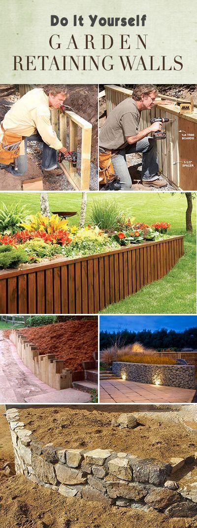 Diy garden retaining walls pinterest jardins for Amenagement jardin diy