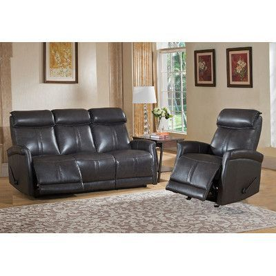 Amax Mosby 2 Piece Leather Living Room Set Living room sets