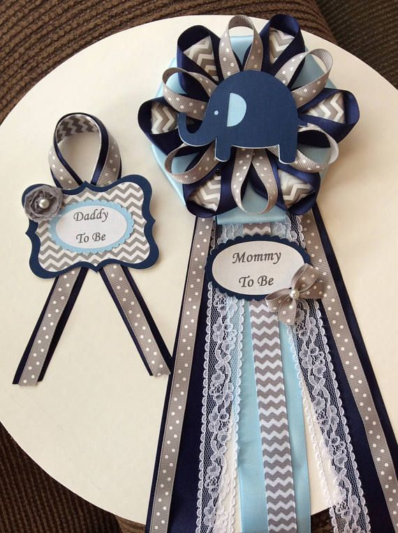 Navy Blue And Light Blue Elephant Baby Shower Corsage Plantillas