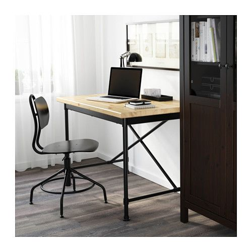 Kullaberg desk pine black 110x70 cm industrial pine and for Pine desk ikea