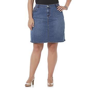 Jaclyn Smith Women's Plus Straight Denim Skirt