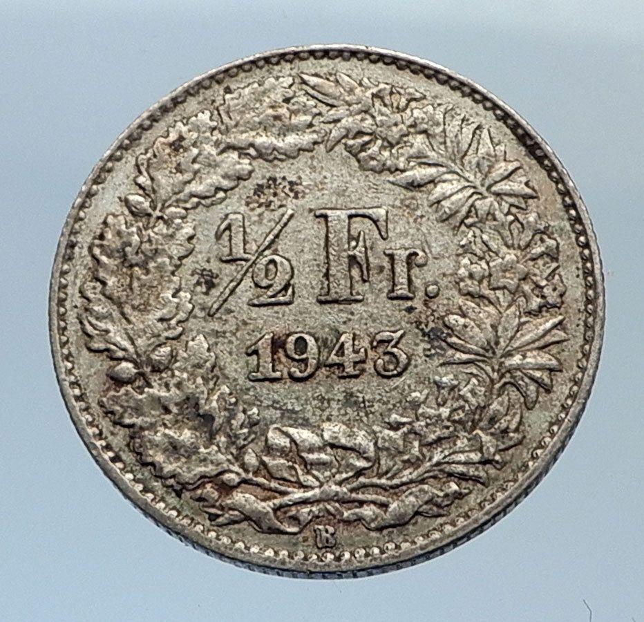 1943 Switzerland Silver 1 2 Francs Coin Helvetia Symbolizes Swiss